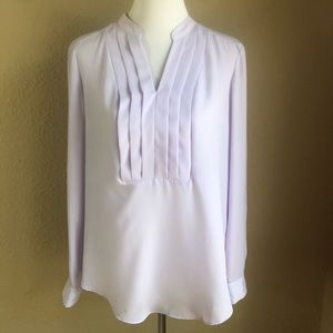 New York & Company lavender popover pleat blouse